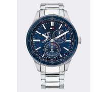 Armbanduhr mit blauer Lünette