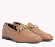 Chain Detail Leather Loafers