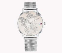 d7955e75c4 Armbanduhr mit Blumenmuster auf dem Zifferblatt