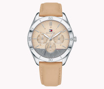 Armbanduhr aus Edelstahl mit hellbraunem Lederarmband