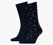 Doppelpack Socken mit lockerem Logoprint