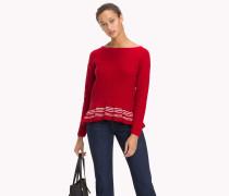 Pullover mit Rüschenkragen aus Bio-Baumwolle