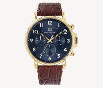 Vergoldete Uhr mit Armband im Kroko-Finish