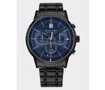 Schwarze Armbanduhr mit Kettenglied-Armband