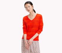 Gestreifter Pullover mit V-Ausschnitt