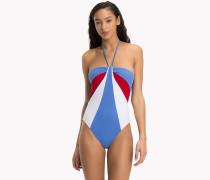 Neckholder-Badeanzug in Blockfarben