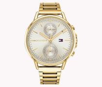 Kristallbesetzte Armbanduhr mit rundem Zifferblatt