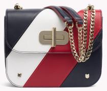 Crossover-Bag aus Leder mit diagonalen Streifen