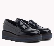 Flatform-Loafer aus Lackleder