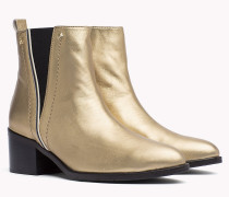 Leder-Ankle Boots in Metallic Optik