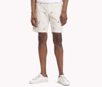 Straight Fit Shorts aus Seersucker