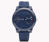 Denim Armbanduhr mit blauem Silikon