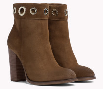 Suede Eyelet Ankle Boots