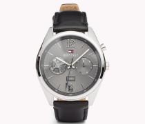 Deacan Armbanduhr mit schwarzem Leder