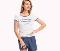 Baumwoll-Pyjama-Set mit Kontrastbesatz