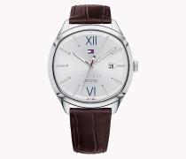 Armbanduhr mit Krokodil-Prägung auf dem Armband