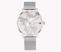 Armbanduhr mit Blumenmuster auf dem Zifferblatt