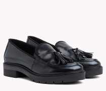 Quasten-Loafer aus Leder in Metallic Optik