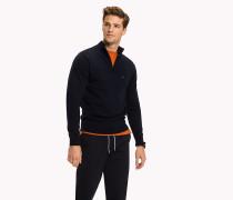 Pullover aus Baumwolle mit Reißverschluss am Ausschnitt