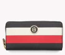 Brieftasche mit Reißverschluss und Streifenmuster