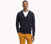 Baumwoll-Seiden-Cardigan mit V-Ausschnitt