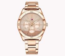 Rosévergoldete Armbanduhr mit mittigem Muster