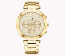 Goldfarbene Armbanduhr mit Rautenmuster