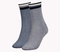 Doppelpack Socken mit gestreiften Bündchen