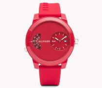 Denim Armbanduhr mit rotem Silikon