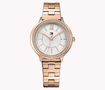 Armbanduhr aus Edelstahl in Rotgold