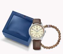 Men's Gift Set: watch & beaded bracelet