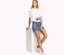 Cropped Fit Poloshirt mit Blumenstickerei
