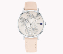 Edelstahl-Armbanduhr mit Blumenmuster