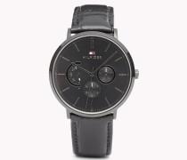 Dane Armbanduhr mit schwarzem Leder