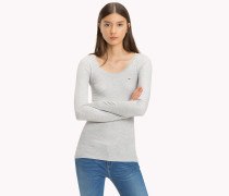 Langrmliges Rippstrick-T-Shirt