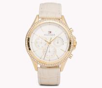 Ari Armbanduhr mit beigem Leder und Kristallen