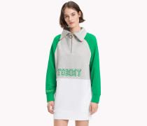 Athleisure-Sweatshirt mit Logo und Reißverschluss-Ausschnitt