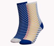 Diagonal gestreifte Socken im Doppelpack