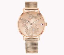 Armbanduhr mit Blumen-Gravur