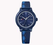 Armbanduhr mit Silikon und Argyle-Muster