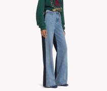 Doppel-Denim Bootcut Jeans