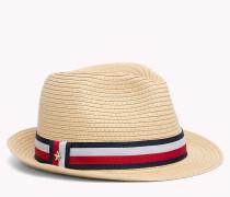 Strohhut mit gestreiftem Hutband