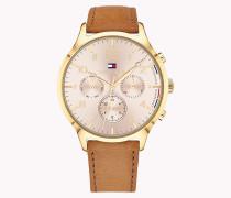 Leder-Armbanduhr mit Datumsanzeige