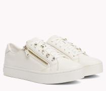 Leder-Sneaker mit Sternen