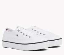 Flatform-Sneaker mit aufgesetzten Tommy-Streifen