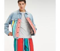 Jeansjacke mit Streifenprint