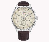 Armbanduhr mit Tachymeter und Lederarmband