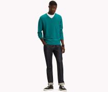 Pullover mit V-Ausschnitt aus reiner Baumwolle