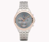 Ari Edelstahl-Armbanduhr mit Kristallen