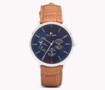 Dane Armbanduhr mit braunem Leder